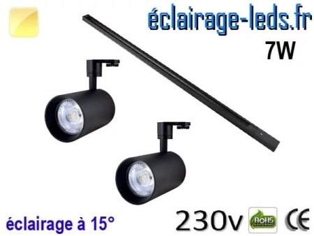 2 Spots LED noir sur rail 7w 15° blanc chaud 230v