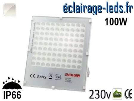 Projecteur LED exterieur Ultra plat 100W IP66 blanc naturel 230v