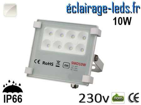 Projecteur LED exterieur Ultra plat 10W IP66 blanc naturel 230v