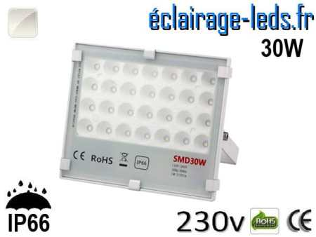 Projecteur LED exterieur Ultra plat 30W IP66 blanc naturel 230v