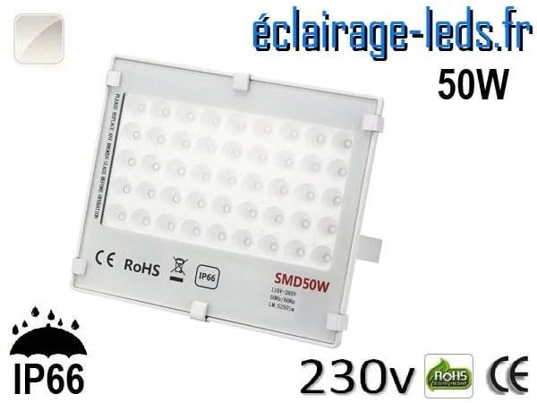 Projecteur LED exterieur Ultra plat 50W IP66 blanc naturel 230v