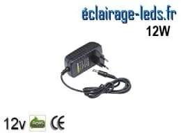 Transformateur LED 12V DC sur prise 12W