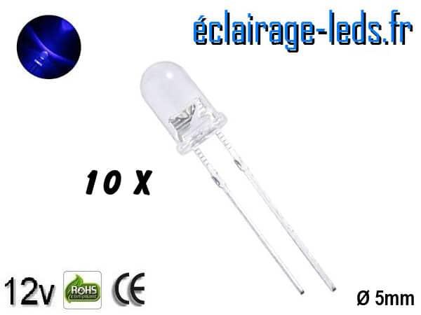 Lot de 10 LEDs bleues 9000 mcd 470 nm 25°