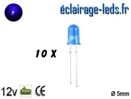 Lot de 10 LEDs bleues diffusante 8000 mcd 465 nm 15°