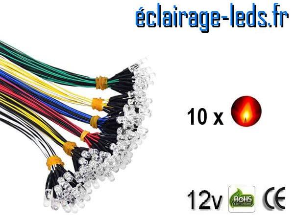 Lot de 10 LEDS rouges câblées 12v DC