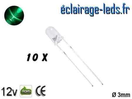 Lot de 10 LEDs vertes 1000 mcd 525 nm 30°