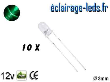 Lot de 10 LEDs vertes 1000 mcd 525 nm 30°