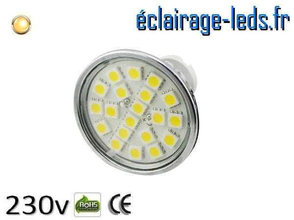 Ampoule led MR16 4w SMD 5050 blanc chaud 3000K 12v DC ref A125-3