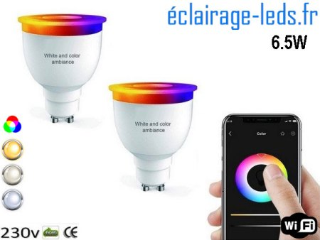 Ampoule LED GU10 Smart Wifi dimmable 6.5w Blanc & Couleurs