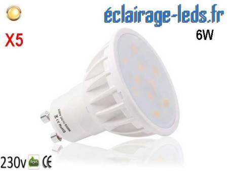 Lot de 5 ampoules led GU10 6W Blanc Chaud 500lm équiv 50W 120°