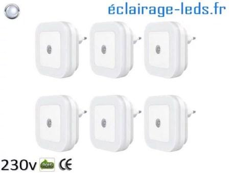 6 x Veilleuse LED crépusculaire Dimmable sur prise blanc froid