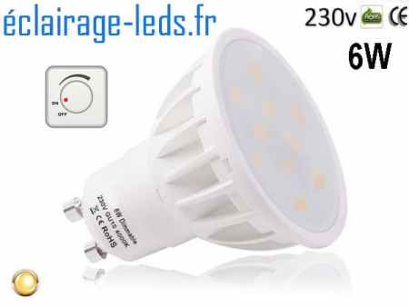 Ampoule led GU10 6W Blanc Chaud 500lm Dimmable 230v