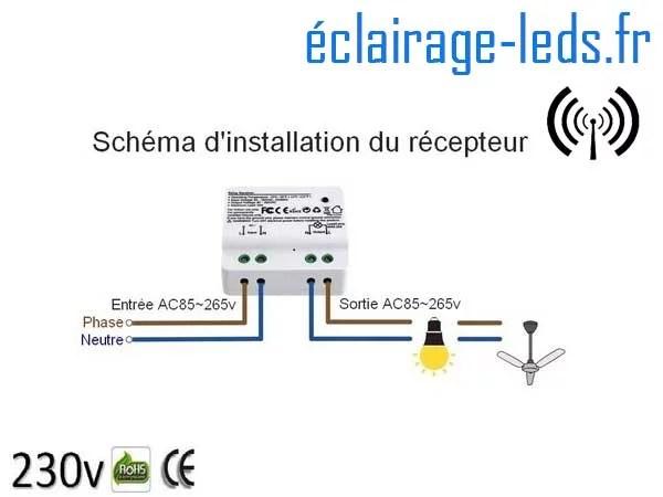 Kit double interrupteur sans fil RF + 1 émetteur 200m 2500w 1