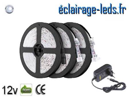 Kit Bandeau LED 15m Blanc froid IP65 12v DC