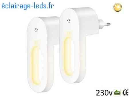 Lot de 2 veilleuses LED automatiques sur prise électrique mod. anneau