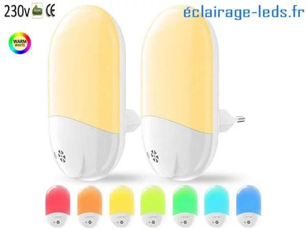 Lot de 2 veilleuses LED crépusculaires Blanc chaud + RGB sur prise