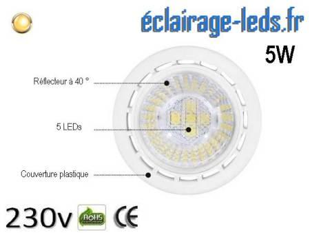 Lot de 5 ampoules led GU10 5W Blanc Chaud 3000K Équiv 45W