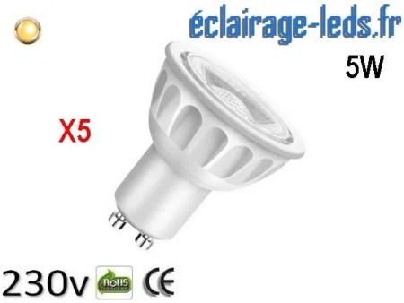 Lot de 5 ampoules led GU10 5W Blanc Chaud 3000K 230v