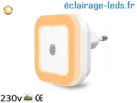 Veilleuse LED crépusculaire Dimmable sur prise blanc chaud