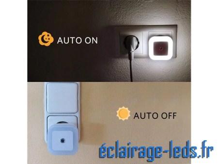 Veilleuse LED crépusculaire Dimmable sur prise blanc froid 230v