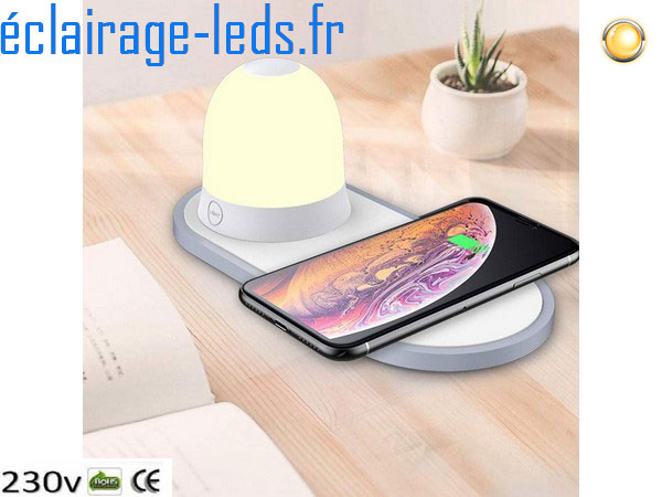 Veilleuse rechargeable sans fil avec Chargeur Induction Qi