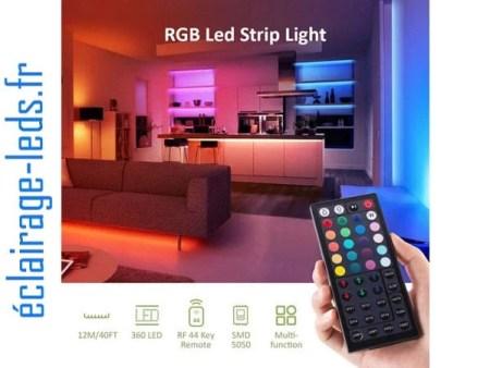 Bandeau LED RGB 12m (2x6m) IP20 éclairage piloté par signal radio 12v