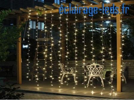 Guirlande LED 3*3M Blanc chaud forme rideau 300 led