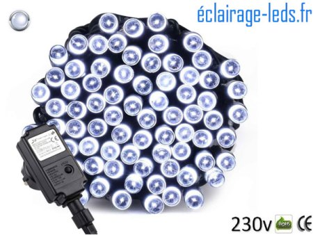 Guirlande LED 10M Blanc froid 100 led IP44 230v