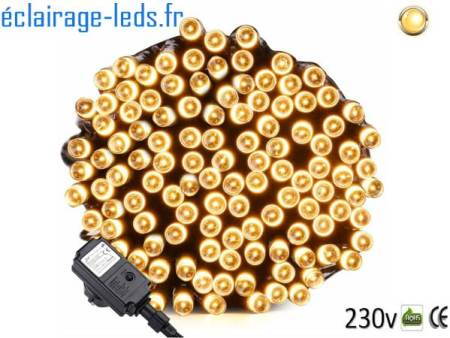 Guirlande LED 20M Blanc chaud 200 led IP44 230v