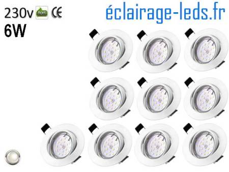 10 Spots LED GU10 Blanc Naturel encastrable blanc