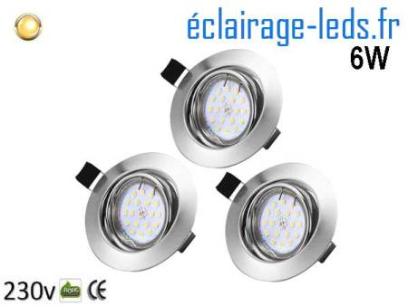 Kit 3 Spots LED GU10 Blanc chaud encastrable chrome