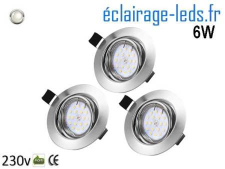 Kit 3 Spots LED GU10 Blanc Naturel encastrable chrome