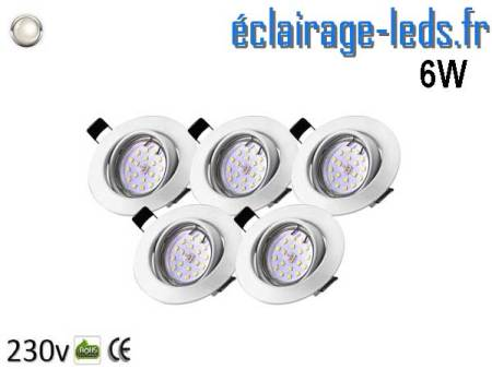 Kit 5 Spots LED GU10 Blanc Naturel Orientable ∅ 70mm