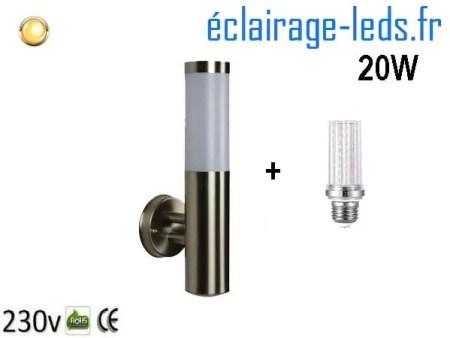 Lampadaire LED murale 20W acier inoxydable blanc chaud 230v
