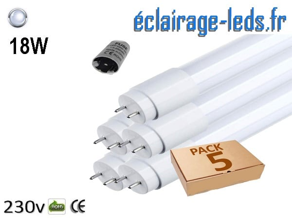 5 tubes LED T8 18w blanc froid 1800 Lm 230v AC
