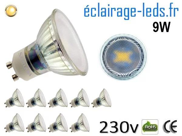 10 Ampoules led GU10 9W blanc chaud 3000K 230v