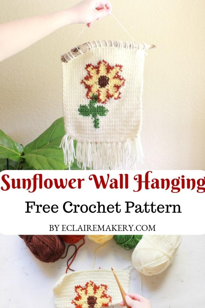 Sunflower Crochet Wall Hanging Free Crochet Pattern by ECLAIREMAKERY.COM #crochetpattern #wallhanging #crochetwallhanging #crochetdecor