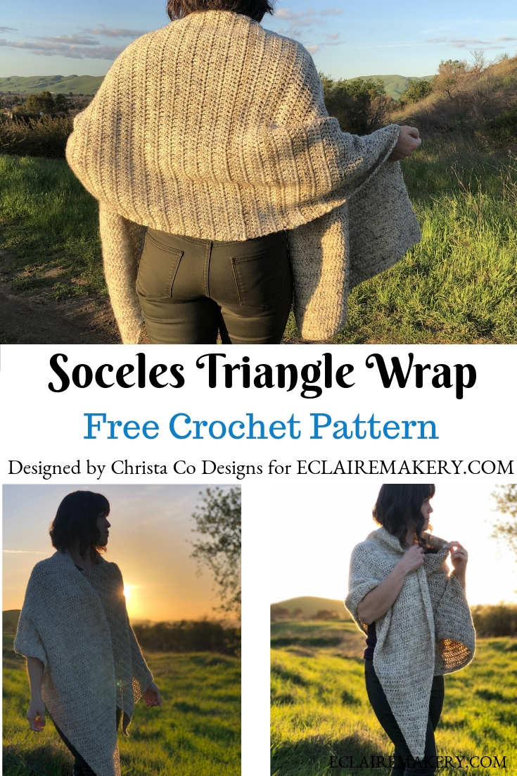 Soceles Triangle Wrap: Free Crochet Pattern by Cristi Co Designs on ECLAIREMAKERY.COM