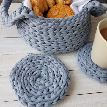 T-Shirt Yarn Crochet Basket With Handles and Coaster: Free Crochet Patterns