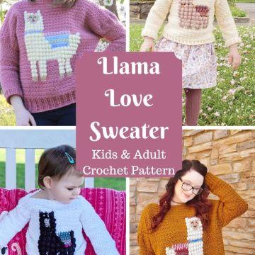Llama Love Sweater: Intarsia Crochet Sweater Pattern