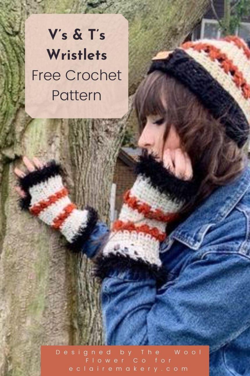 V's and T's Wristlets: Free Crochet Fingerless Glove Pattern