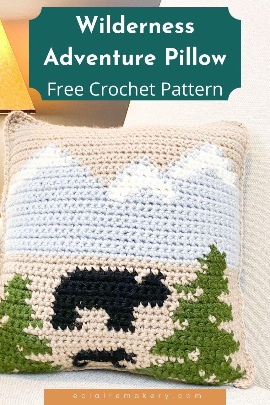 Woodland Adventure Pillow: Free Intarsia Crochet Pillow Pattern