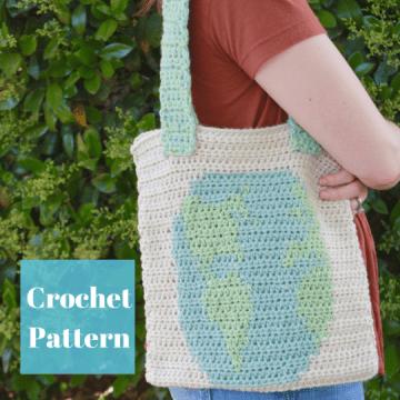 Carry the World Crochet Reusable Tote Bag Crochet Pattern