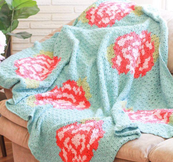 Rose Garden Blanket: C2C Crochet Blanket Pattern