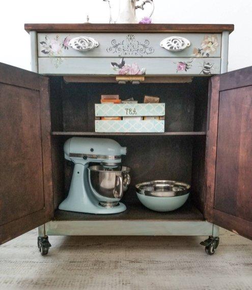 floral-kitchen-cart-island-beverage-station-eclatdeignsbycrystin-5