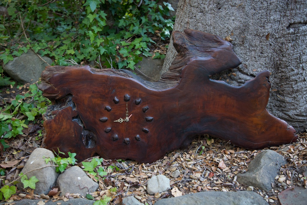 Redwood Burlwood Clock Eclectibull