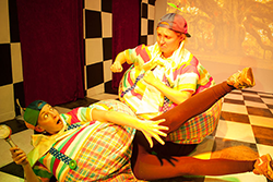 Melanie Cruz and Merileigh Moen as Tweedle Dee and Tweedle Dum
