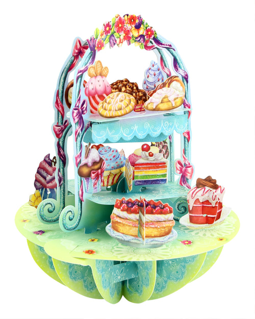Santoro London – Cake Display – 3D Pop-up Pirouette Card
