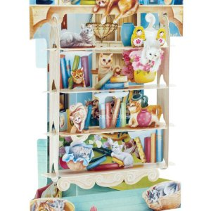 Cats on Bookshelves 3D Pop-Up Swing Card