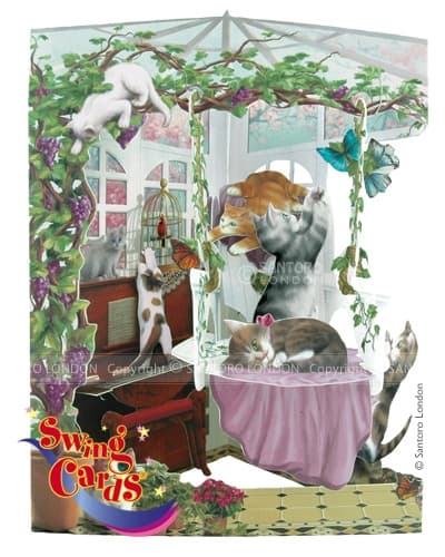Santoro Cats in Conservatory – 3D Pop-Up Swing Card